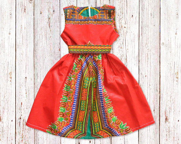 Red Dashiki African Print Gathered Dress with Belt