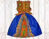Royal Blue Dashiki Gathered Dress with Belt
