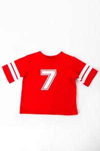 Red and white No7 Rugby top