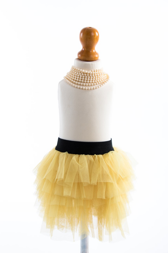 Yellow tutu with elastic black waist band