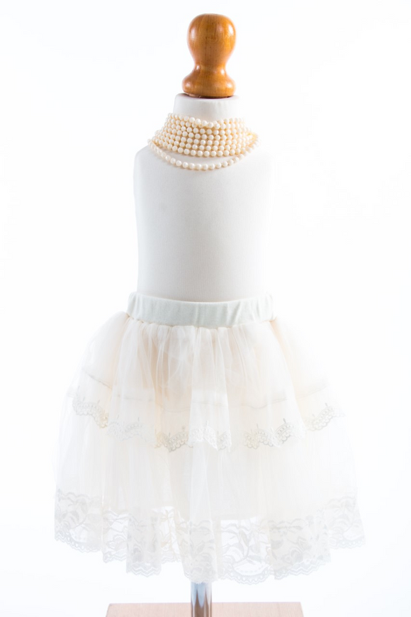 Cream Angel tutu skirt with lace design