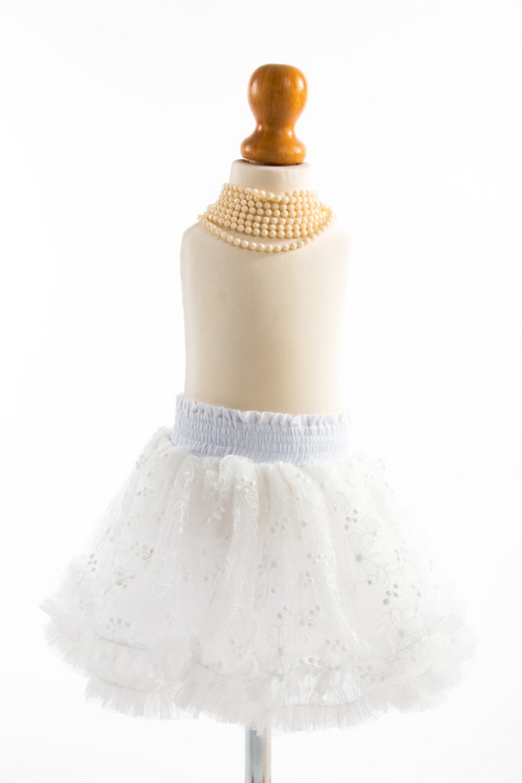 White tutu skirt with a beautiful floral design