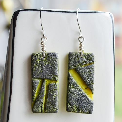 Silver Lemon Rectangle Textured Tile Earrings