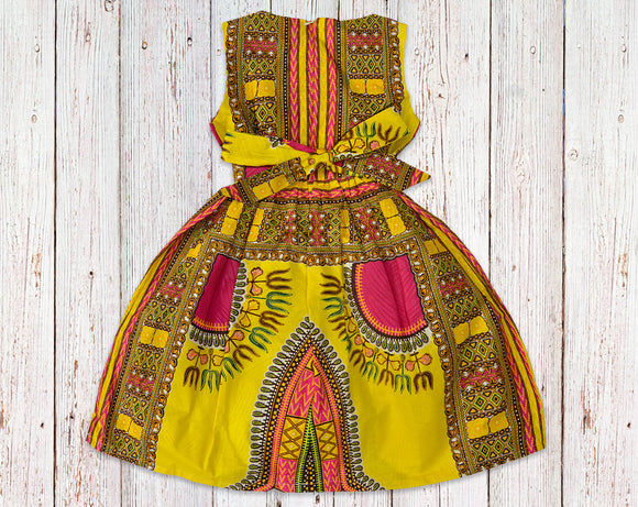 Yellow Dashiki Gathered Dress with Belt