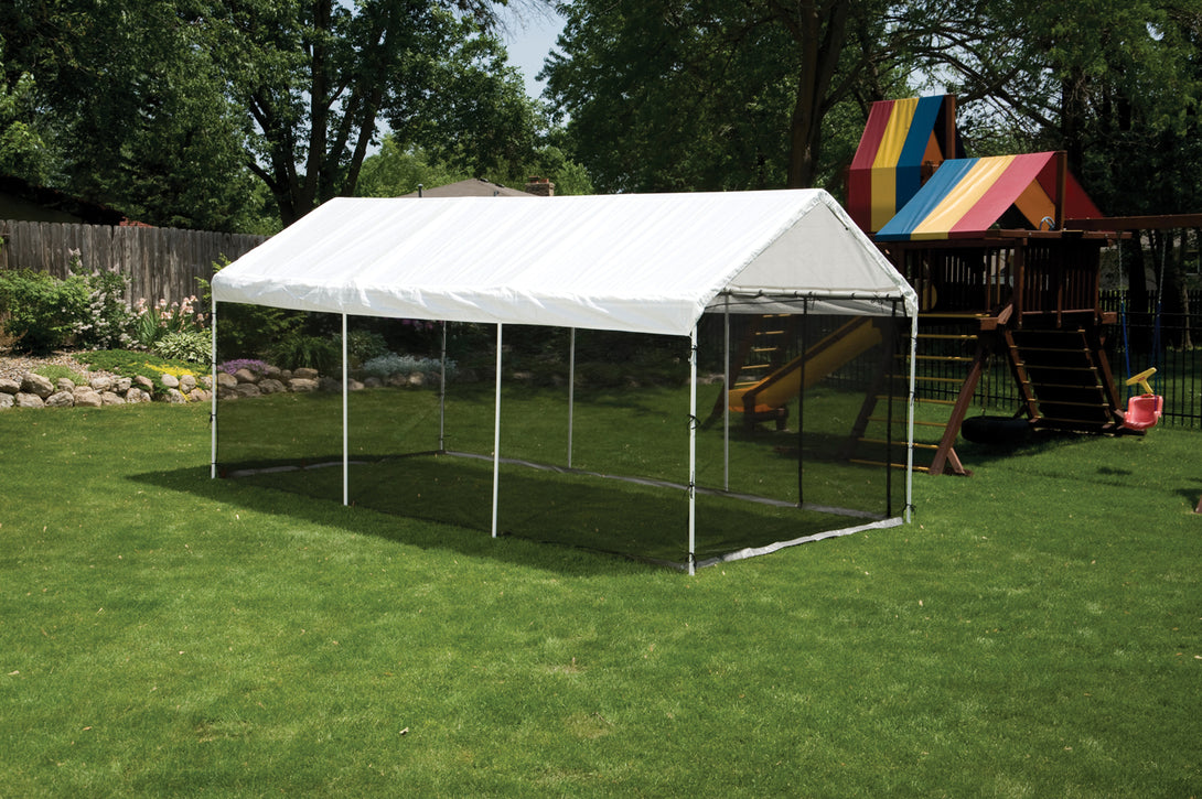 Shelter Logic Waterproof Carport with Screen Kit 10 x 20 - Covered Cars