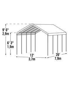 Shelter Logic Portable Carport and Shelter 12 x 26 - Covered Cars