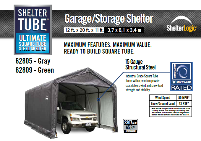 Shelter Logic Snow Rated Instant Garage 12 x 25 – Covered Cars