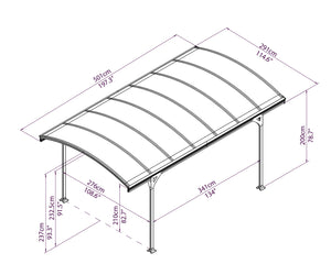 Palram Vitoria Carport Kit 10 x 16 - Covered Cars