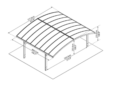 Palram Arizona Wave Arched Double Carport 19 x 16