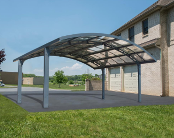 Palram Arizona Breeze Arched Double Carport 19 x 16 - Covered Cars