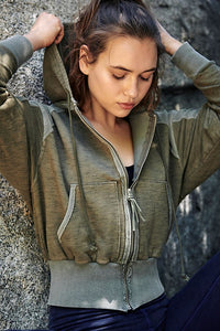 Free People Movement Shadowboxer Hoodie - Army