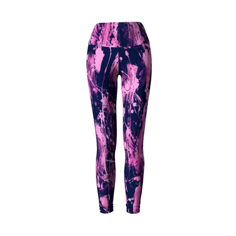 Feather Splash Leggings - Fuchsia Pink