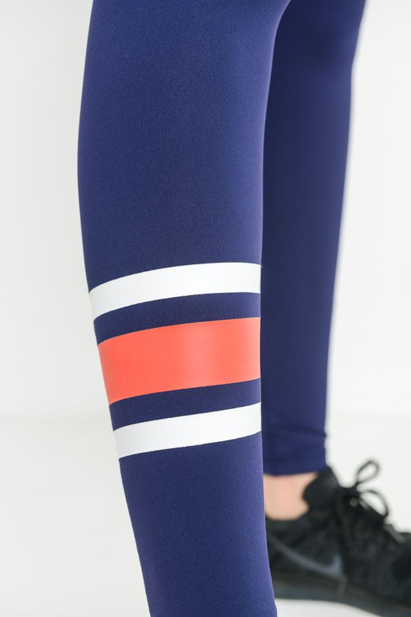 Stripe Piping Accent Varsity Leggings