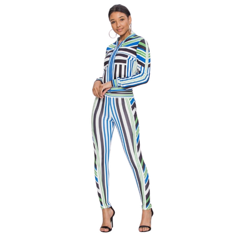 Vintage Stripe Track Suit - Cream