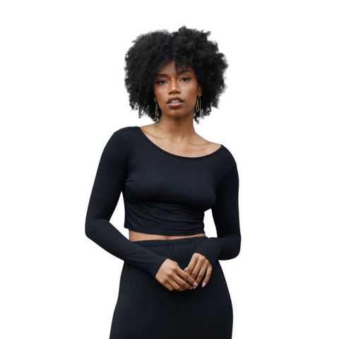 Long Sleeve French Terry Knit Crop Top