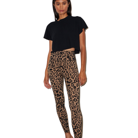 Leopard Zipper Leggings - Brown