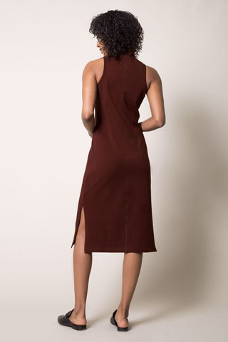 Runway Mock Neck Dress - Burgundy at 72.00