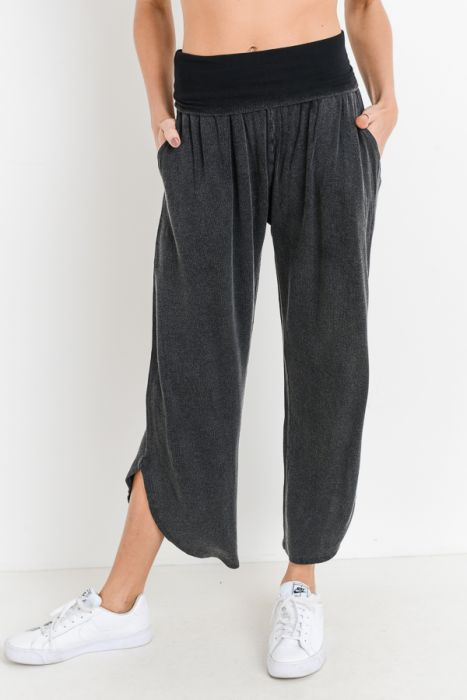 Mono B High Waist Palazzo Tulip Pants & Mid-Sleeve Hoodie Crop Top