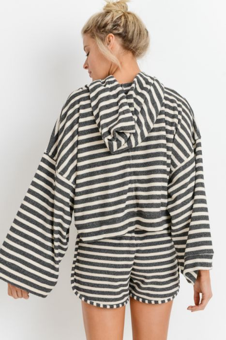 Mono B Striped Hoodie Wide Sleeve Top