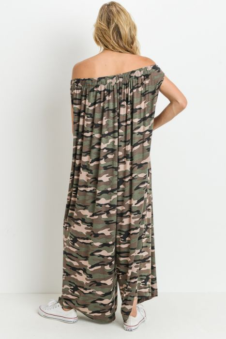 Mono B Camo Off-Shoulder Gaucho Drape Jumpsuit