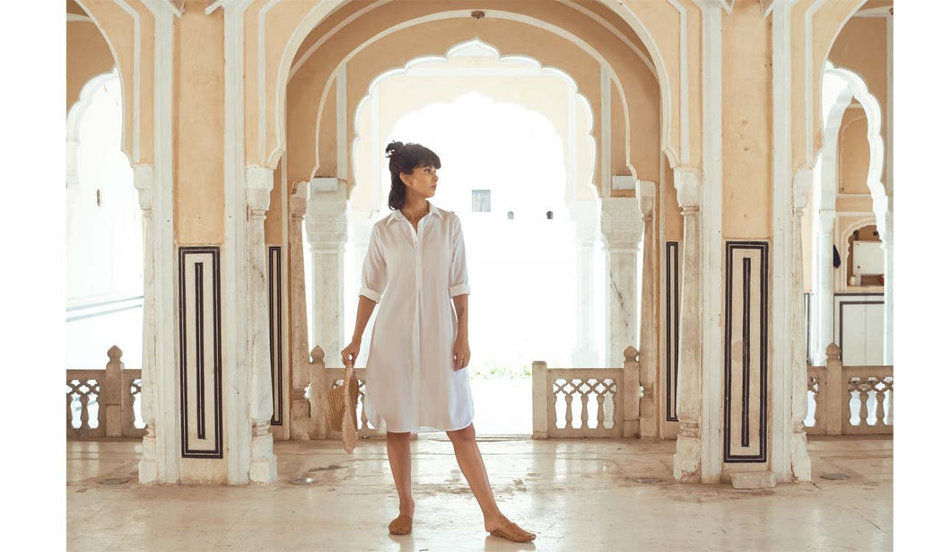 WHITE SHIFT DRESS (Dress-White) - Tokree Shop Jaipur