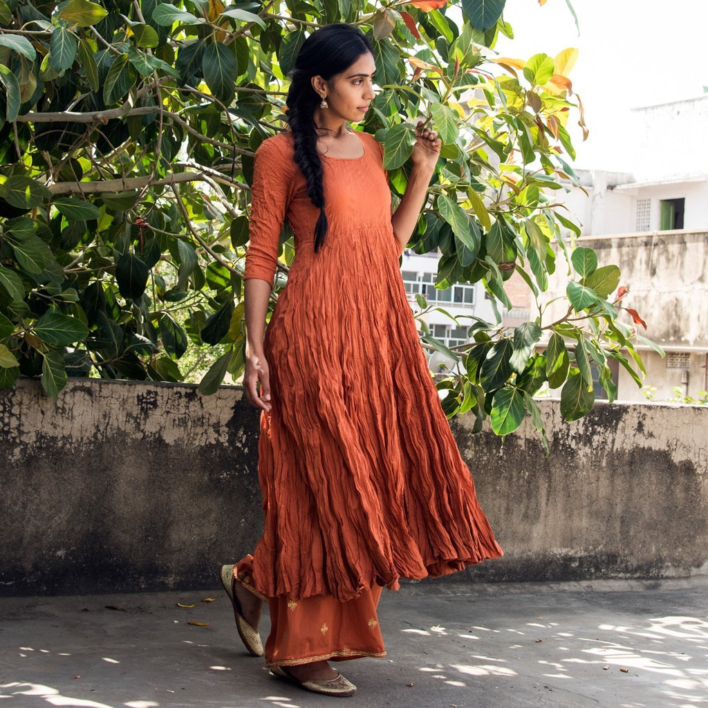 INIYA (Kurta/Dress-Rust) - Tokree Shop Jaipur