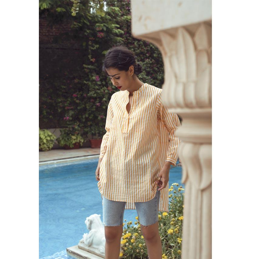 MANGUE STRIPE KURTA SHIRT (Shirt-White & Mangue) - Tokree Shop Jaipur
