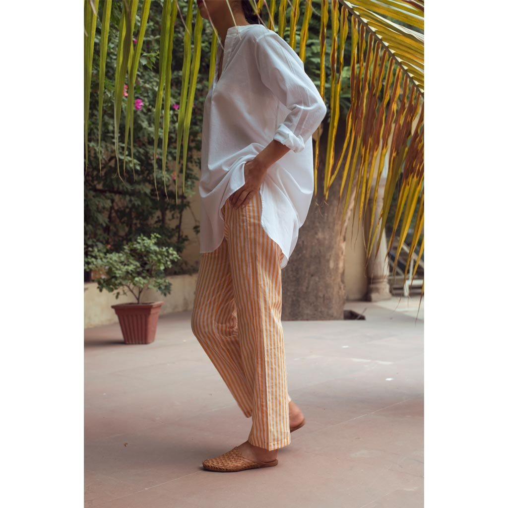 MANGUE PINSTRIPE YOGA PANTS (Pants-Mangue) - Tokree Shop Jaipur