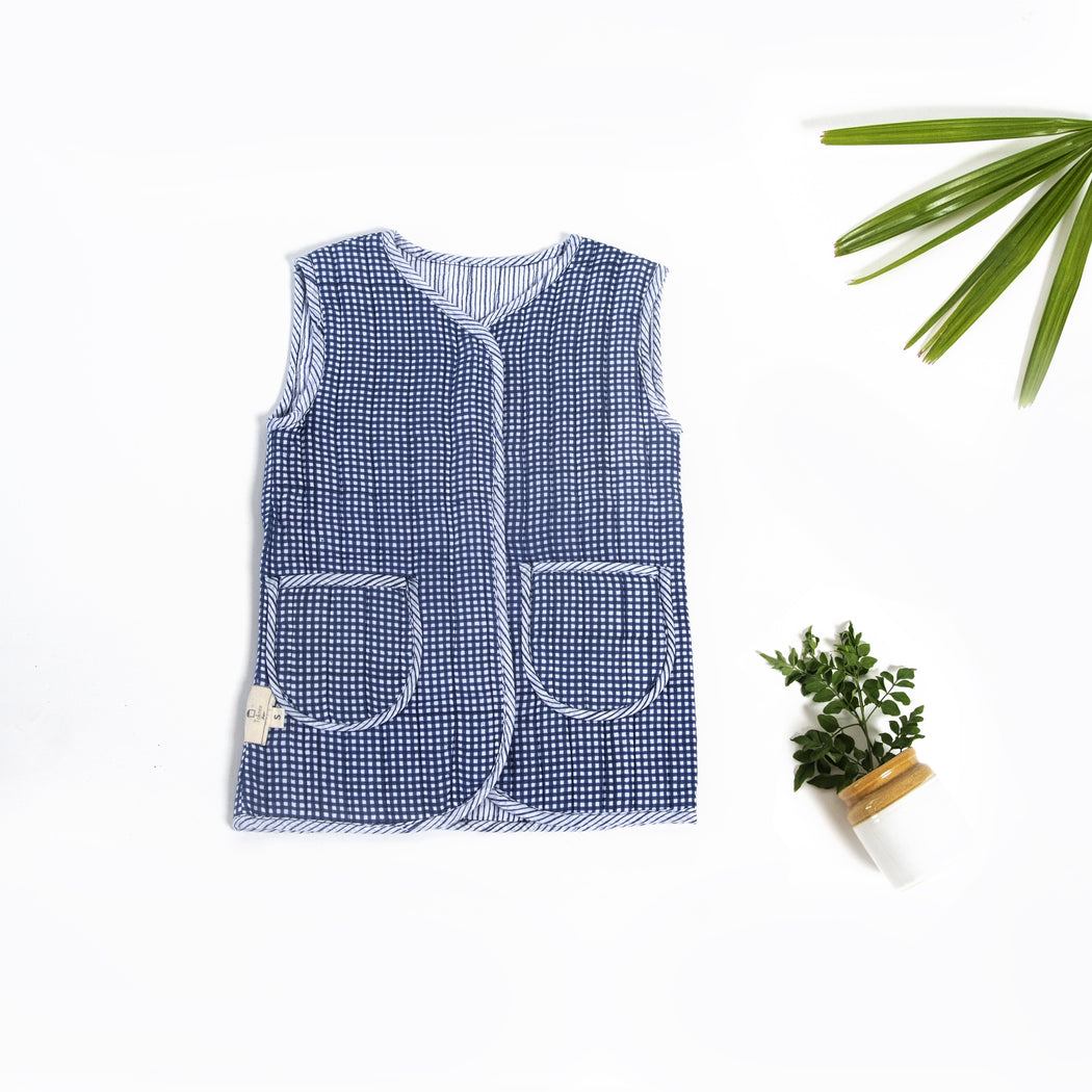 Peter Sleeveless Jacket(reversible) -KIDS (UNISEX) - Tokree Shop Jaipur
