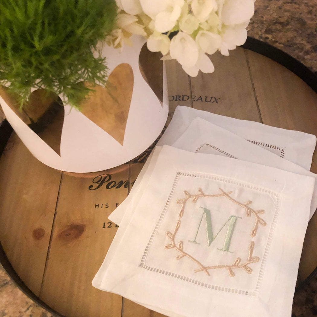 Set of Spring Monogrammed Linen Cocktail Napkins