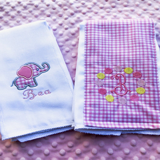 Baby Girl Personalized Burp Cloth Set of 2 - Elephant / Circus Theme