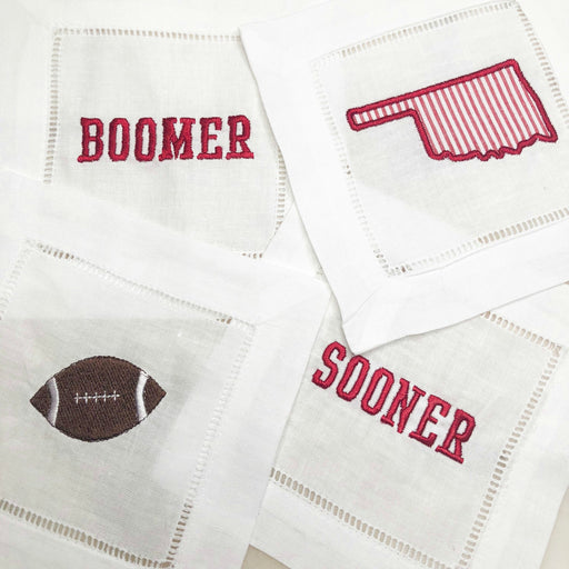 Boomer Sooner Set of Linen Cocktail Napkins
