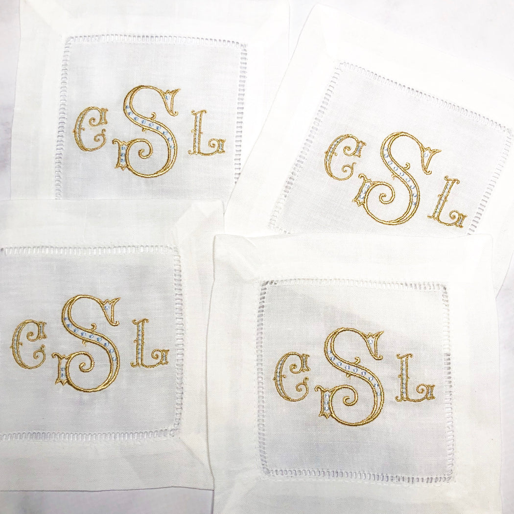 Classic Arabesque Monogrammed Set of Linen Cocktail Napkins