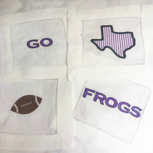 TCU Hornfrogs Set of Linen Cocktail Napkins