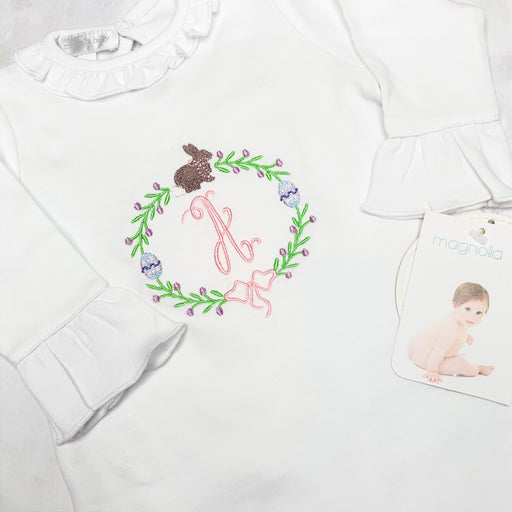 Baby Girl Coming Home White Romper, Easter theme, Personalized gift