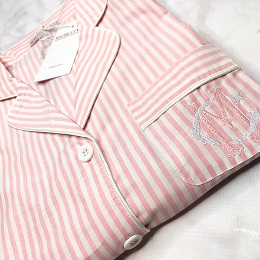 Pink and White Striped Monogrammed PJs pajamas luxe