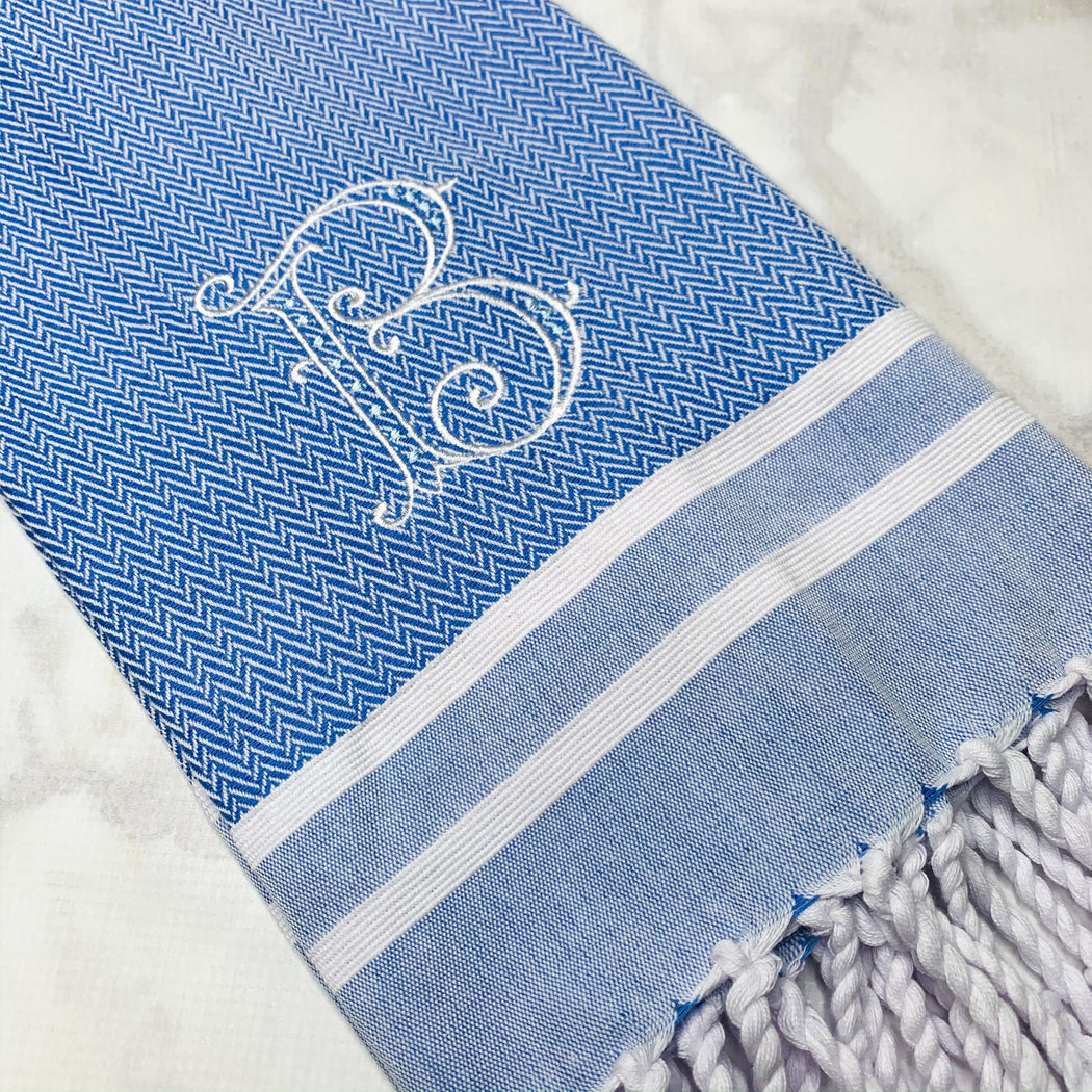 Turkish Guest Towel Herringbone with stripes