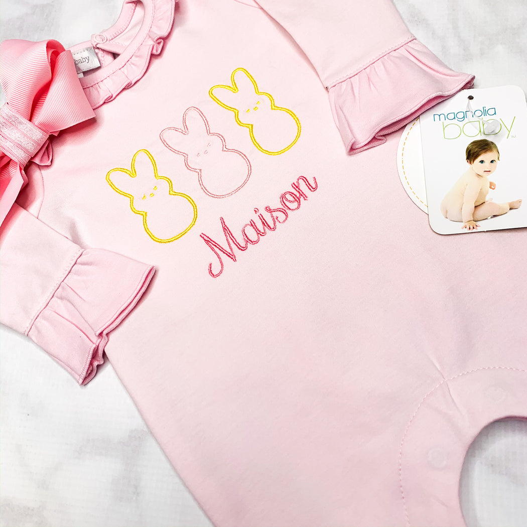 Baby Girl Pink Coming Home Romper, Easter theme, Personalized gift