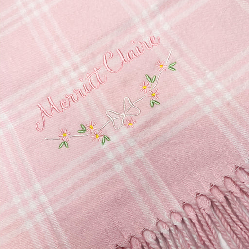 Baby Girl Pink Window Pane Monogrammed Receiving blanket Personalized gift