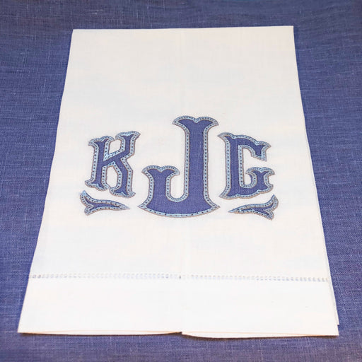 Monogrammed White Linen Hand/Guest Towel