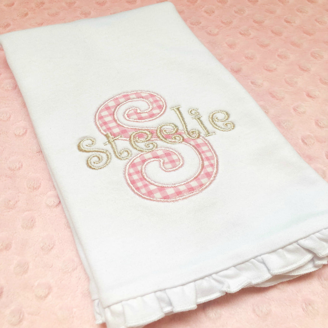 Personalized/Monogrammed Burp Cloth - Girl