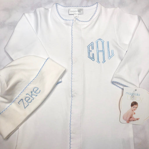 Baby Boy Coming Home Outfit, Monogrammed footie, Personalized baby Gift