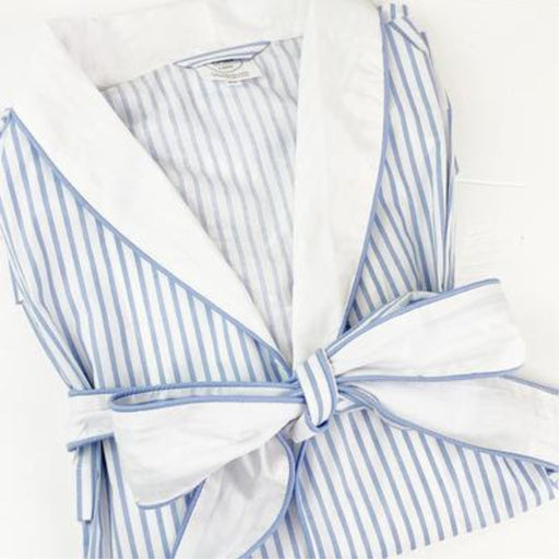 Blue and White Striped Pima Cotton Robe
