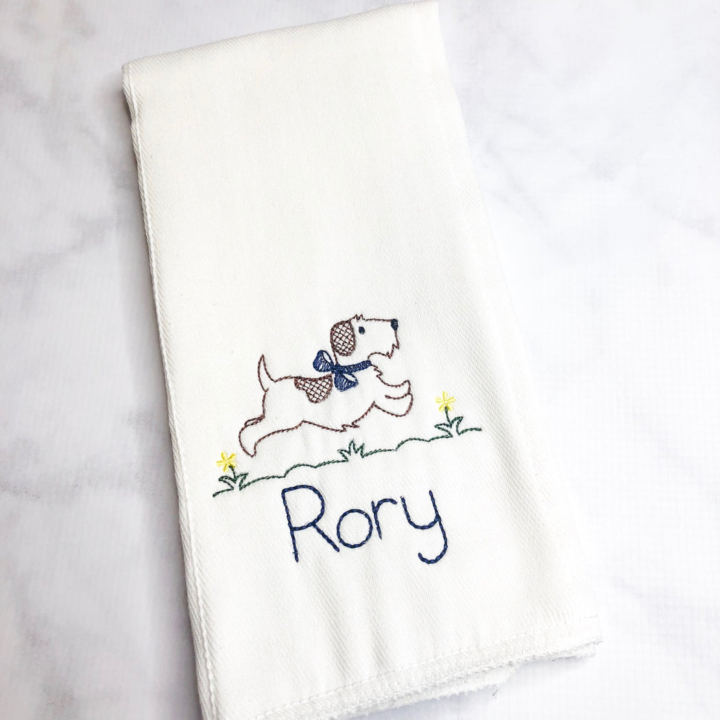 Baby Boy Personalized Monogrammed Burp Cloth Set of 2 - Dog and Cars