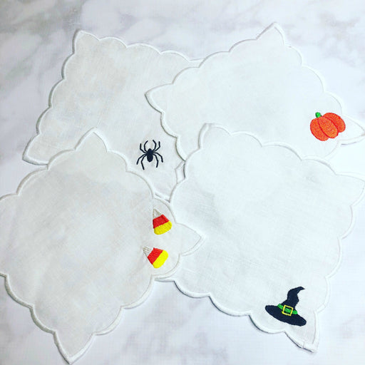 Fall / Halloween Themed Scalloped linen coctail napkins
