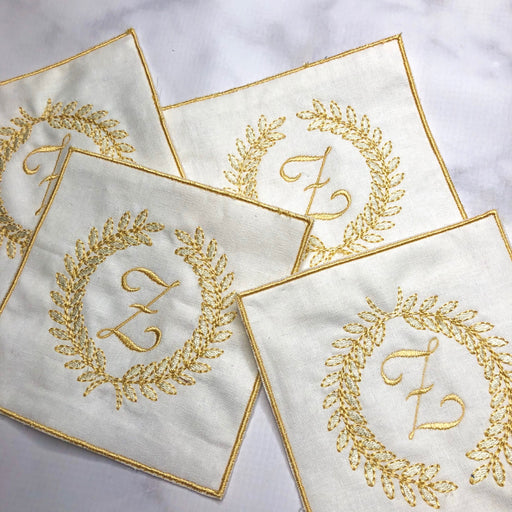Linen Cocktail Napkins with Embroidered edge - Cream and Gold