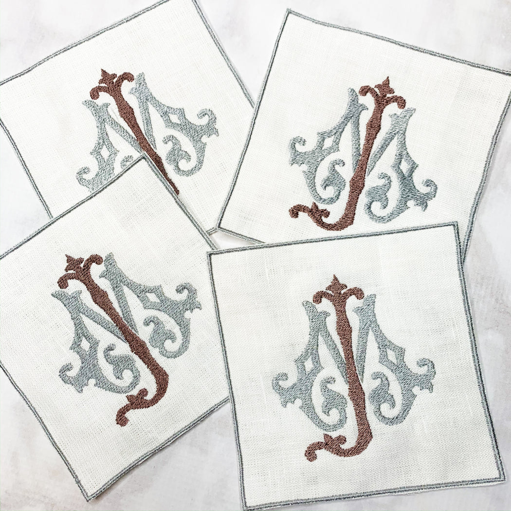 Linen Cocktail Napkins Coasters with embroidered edge Silver and Brown