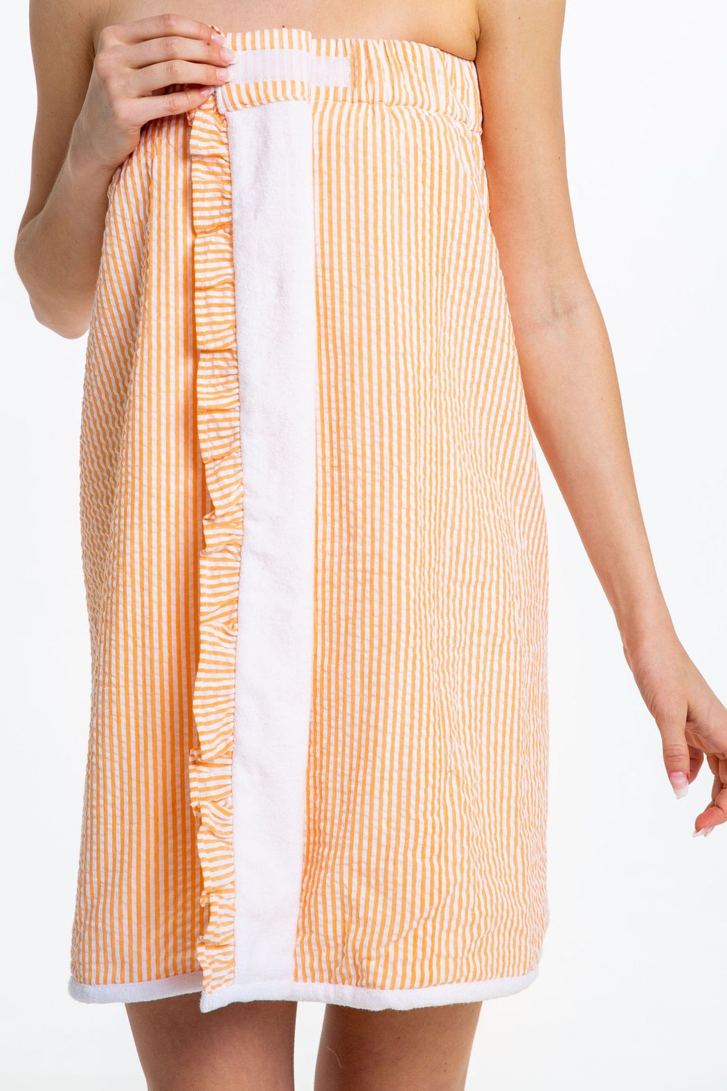 Seersucker Spa Wrap Orange - Monogrammed