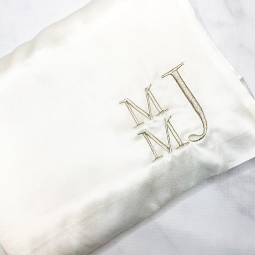 Monogrammed 100% pure silk pillowcase - Ivory
