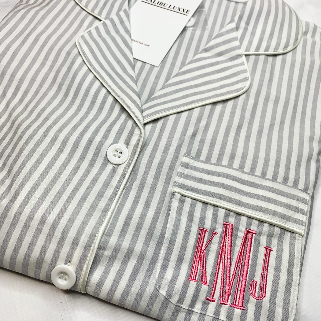 Gray and White Striped Monogrammed PJs pajamas luxe